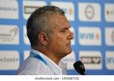 Budapest, Hungary - Jul 15, 2014.  Alessandro Campagna head coach of the italian men waterpolo team. The Waterpolo European Championship was held in Alfred Hajos Swimming Centre in 2014.