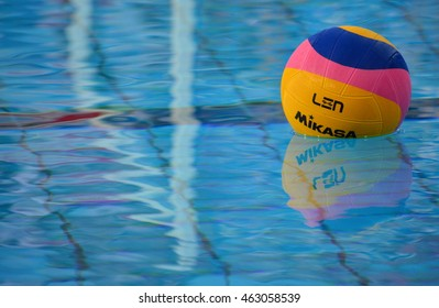 Budapest, Hungary - Jul 15, 2014. Waterpolo ball in the swimming pool.