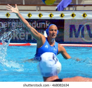 Budapest, Hungary - Jul 16, 2014. TSOUKALA Christina (GRE 2) defending against  the brittish team. The Waterpolo European Championship was held in Alfred Hajos Swimming Centre in 2014.