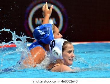 Budapest, Hungary - Jul 16, 2014. WINSTANLEY-SMITH Angela (GBR 10) and PLEVRITOU Margarita (GRE 4) fighting. The Waterpolo European Championship was held in Alfred Hajos Swimming Centre in 2014.
