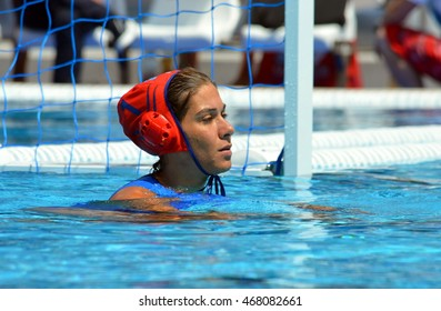 Budapest, Hungary - Jul 16, 2014. Greece's goalkeeper 	KOUVDOU Eleni (GRE, 1). The Waterpolo European Championship was held in Alfred Hajos Swimming Centre in 2014.
