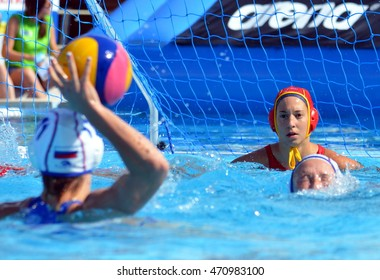 Budapest, Hungary - Jul 16, 2014. Focus on the spanish ESTER RAMOS Laura (ESP, 1)T goalkeeper.  The Waterpolo European Championship was held in Alfred Hajos Swimming Centre in 2014.