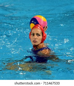 Budapest, Hungary - Jul 16, 2017. KASO Orsolya, goalkeeper of the Hungary team. FINA Waterpolo World Championship was held in Alfred Hajos Swimming Centre in 2017.