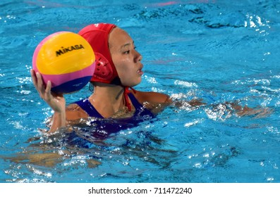 Budapest, Hungary - Jul 16, 2017. AOKI Miyuu, goalkeeper of Japan team. FINA Waterpolo World Championship was held in Alfred Hajos Swimming Centre in 2017.