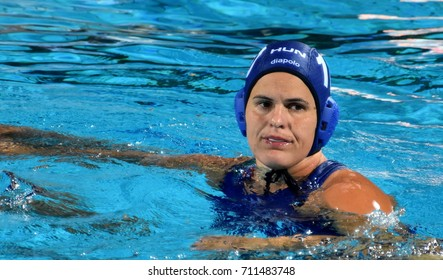 Budapest, Hungary - Jul 16, 2017. BUJKA Barbara (HUN) fights with Japan team in the preliminary round. FINA Waterpolo World Championship was held in Alfred Hajos Swimming Centre in 2017.