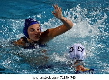Budapest, Hungary - Jul 16, 2017. GURISATTI Greta (HUN) fights with SUZUKI Kotori (JPN) in the preliminary round. FINA Waterpolo World Championship was held in Alfred Hajos Swimming Centre in 2017.