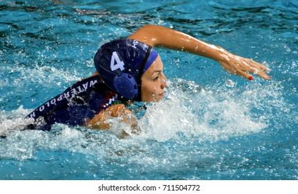 Budapest, Hungary - Jul 16, 2017. GURISATTI Greta (HUN) in the preliminary round. FINA Waterpolo World Championship was held in Alfred Hajos Swimming Centre in 2017.