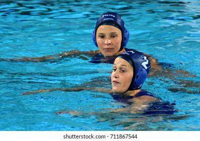 Budapest, Hungary - Jul 16, 2017. CZIGANY Dora (2, HUN) and ILLES Anna (7, HUN) in the preliminary round. FINA Waterpolo World Championship was held in Alfred Hajos Swimming Centre in 2017.