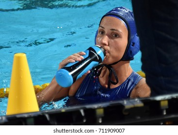 Budapest, Hungary - Jul 16, 2017. KESZTHELYI Rita (HUN) in the preliminary round. FINA Waterpolo World Championship was held in Alfred Hajos Swimming Centre in 2017.