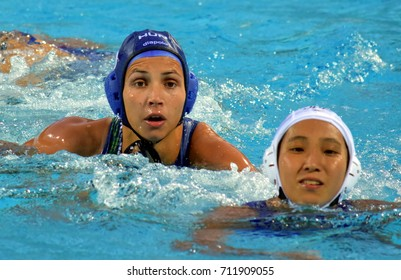 Budapest, Hungary - Jul 16, 2017. KESZTHELYI Rita (HUN) fights with Japan in the preliminary round. FINA Waterpolo World Championship was held in Alfred Hajos Swimming Centre in 2017.