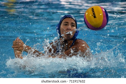 Budapest, Hungary - Jul 16, 2017. CSABAI Dora (HUN) plays with Japan in the preliminary round. FINA Waterpolo World Championship was held in Alfred Hajos Swimming Centre in 2017.