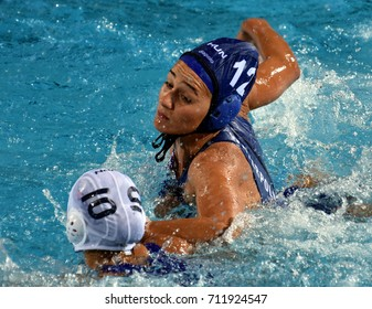Budapest, Hungary - Jul 16, 2017. SZILAGYI Dorottya (HUN) fights with NORO Misaki (JPN) in the preliminary round. FINA Waterpolo World Championship was held in Alfred Hajos Swimming Centre in 2017.
