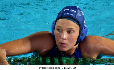 Budapest, Hungary - Jul 16, 2017. ILLES Anna (HUN) in the preliminary round. FINA Waterpolo World Championship was held in Alfred Hajos Swimming Centre in 2017.