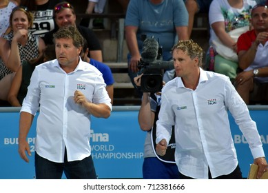 Budapest, Hungary - Jul 16, 2017. BIRO Attila, head coach of Hungary Women Waterpolo team and his assistant ATS Bertalan. FINA Waterpolo World Championship was held in Budapest in 2017.