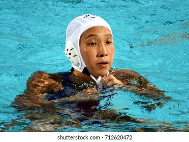 Budapest, Hungary - Jul 16, 2017. SAKANOUE Chiaki (JPN) in the preliminary round. FINA Waterpolo World Championship was held in Alfred Hajos Swimming Centre in 2017.