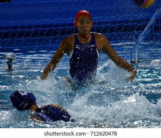 Budapest, Hungary - Jul 16, 2017. AOKI Miyuu (JPN) goalkeeper in the preliminary round. FINA Waterpolo World Championship was held in Alfred Hajos Swimming Centre in 2017.