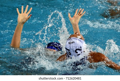 Budapest, Hungary - Jul 16, 2017. SUZUKI Kotori (JPN) fights with HUngary in the preliminary round. FINA Waterpolo World Championship was held in Alfred Hajos Swimming Centre in 2017.