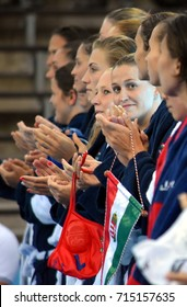 Budapest, Hungary - Jul 16, 2017. The hungarian women waterpolo team, CZIGANY Dora in focus. FINA Waterpolo World Championship was held in Alfred Hajos Swimming Centre in 2017.