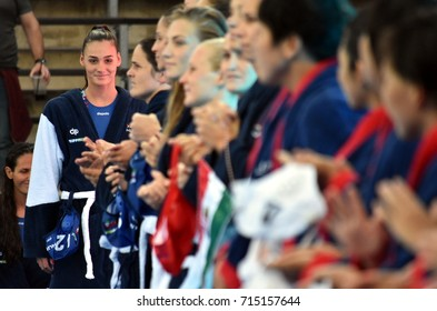 Budapest, Hungary - Jul 16, 2017.  SZILAGYI Dorottya, hungarian waterpolo player. FINA Waterpolo World Championship was held in Alfred Hajos Swimming Centre in 2017.