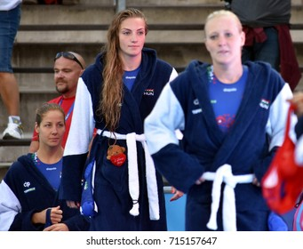 Budapest, Hungary - Jul 16, 2017. ANTAL DORA (front), GURISATTI Greta (center) and SZUCS Gabriella (back), hungarian waterpolo players. FINA Waterpolo World Championship was held in Budapest.