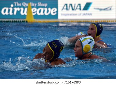 Budapest, Hungary - Jul 16, 2017. MUSSAROVA Assem (KAZ) fights with WEBSTER Rowie (AUS)  in the preliminary round. FINA Waterpolo World Championship was held in Alfred Hajos Swimming Centre in 2017.