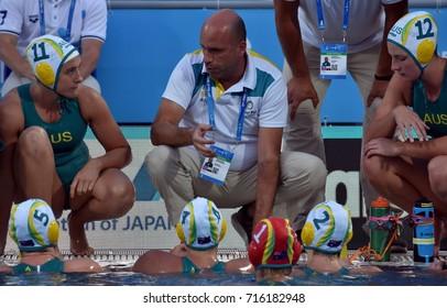 Budapest, Hungary - Jul 16, 2017. KECHAGIAS Athansios (AUS) head coach of Australia women waterpolo team. FINA Waterpolo World Championship was held in Alfred Hajos Swimming Centre in 2017.