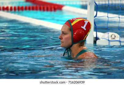Budapest, Hungary - Jul 16, 2017. YANITSAS Lea (AUS) goalkeeper of the Australia team  in the preliminary round. FINA Waterpolo World Championship was held in Alfred Hajos Swimming Centre in 2017.