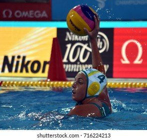 Budapest, Hungary - Jul 16, 2017. HALLIGAN Bronte (AUS) in the preliminary round. FINA Waterpolo World Championship was held in Alfred Hajos Swimming Centre in 2017.