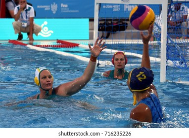 Budapest, Hungary - Jul 16, 2017. WEBSTER Rowie (AUS) defends against  MUSSAROVA Assem (KAZ). FINA Waterpolo World Championship was held in Alfred Hajos Swimming Centre in 2017.