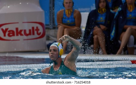 Budapest, Hungary - Jul 16, 2017. BISHOP Isobel (AUS) waterpolo player in the preliminary round. FINA Waterpolo World Championship was held in Alfred Hajos Swimming Centre in 2017.