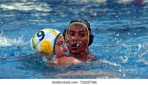 Budapest, Hungary - Jul 16, 2017. ARANCINI Zoe (AUS) fights against Kazakhstan in the preliminary round. FINA Waterpolo World Championship was held in Alfred Hajos Swimming Centre in 2017.