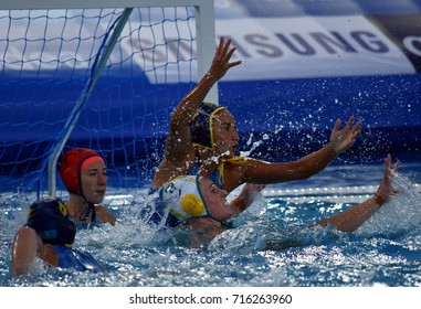 Budapest, Hungary - Jul 16, 2017. Kazakh women waterpolo team defends against  BUCKLING Hannah (AUS). FINA Waterpolo World Championship was held in Alfred Hajos Swimming Centre in 2017.