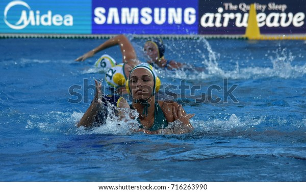 Budapest, Hungary - Jul 16, 2017.  ZIMMERMAN Jessica (AUS) fights with a kazakh player in the preliminary round. FINA Waterpolo World Championship was held in Alfred Hajos Swimming Centre in 2017.