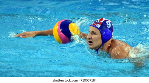 Budapest, Hungary - Jul 17, 2017. SUKNO Sandro (CRO) playing against USA in the preliminary round. FINA Waterpolo World Championship was held in Alfred Hajos Swimming Centre in 2017.