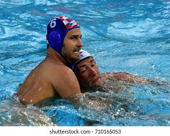 Budapest, Hungary - Jul 17, 2017.  BULJUBASIC Ivan (CRO) playing against USA team in the preliminary round. FINA Waterpolo World Championship was held in Alfred Hajos Swimming Centre in 2017.