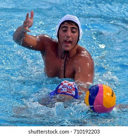 Budapest, Hungary - Jul 17, 2017. CUPIDO Luca (USA) playing against Croatia in the preliminary round. FINA Waterpolo World Championship was held in Alfred Hajos Swimming Centre in 2017.