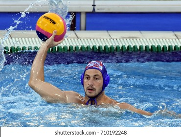 Budapest, Hungary - Jul 17, 2017. SETKA Andelo (CRO) playing against the USA team in the preliminary round. FINA Waterpolo World Championship was held in Alfred Hajos Swimming Centre in 2017.