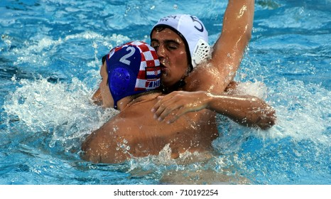 Budapest, Hungary - Jul 17, 2017. HALLOCK Ben (USA) playing against Croatia in the preliminary round. FINA Waterpolo World Championship was held in Alfred Hajos Swimming Centre in 2017.