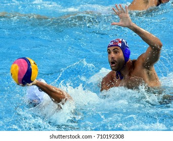 Budapest, Hungary - Jul 17, 2017. GARCIA GADEA Javier (CRO) playing against USA team in the preliminary round. FINA Waterpolo World Championship was held in Alfred Hajos Swimming Centre in 2017.