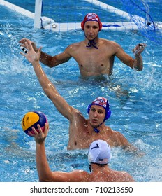 Budapest, Hungary - Jul 17, 2017. Croatia playing with USA in the preliminary round. FINA Waterpolo World Championship was held in Alfred Hajos Swimming Centre in 2017.
