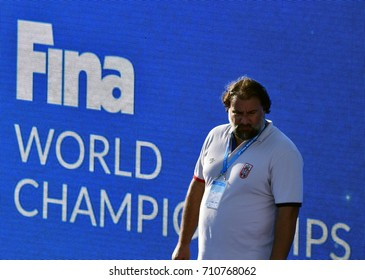 Budapest, Hungary - Jul 17, 2017. SAVIC Dejan, head coach of Serbia. FINA Waterpolo World Championship was held in Alfred Hajos Swimming Centre in 2017.