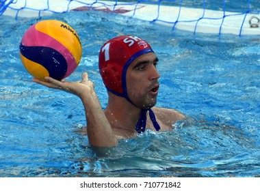 Budapest, Hungary - Jul 17, 2017. PIJETLOVIC Gojko, goalkeeper of Serbia waterpolo team. FINA Waterpolo World Championship was held in Alfred Hajos Swimming Centre in 2017.