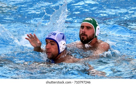Budapest, Hungary - Jul 17, 2017. UBOVIC Nemanja (SRB) fights with MOLYNEUX Nicholas (RSA) in the preliminary round. FINA Waterpolo World Championship was held in Alfred Hajos Swimming Centre in 2017.