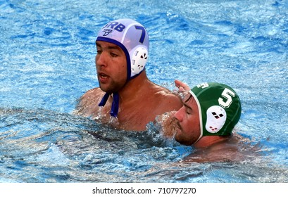 Budapest, Hungary - Jul 17, 2017. UBOVIC Nemanja (SRB) fights with BROWN Chris (RSA) in the preliminary round. FINA Waterpolo World Championship was held in Alfred Hajos Swimming Centre in 2017.