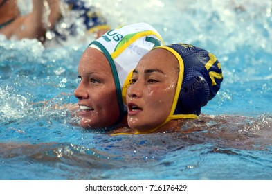 Budapest, Hungary - Jul 17, 2017. MUSSAROVA Assem (KAZ) fights with WEBSTER Rowie (AUS)  in the preliminary round. FINA Waterpolo World Championship was held in Alfred Hajos Swimming Centre in 2017.