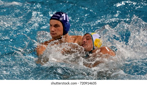 Budapest, Hungary - Jul 17, 2017. VARGA Denes (HUN) waterpolo player (in blue) fights with GILCHRIST Jarrod (AUS). FINA Waterpolo World Championship was held in Alfred Hajos Swimming Centre in 2017.