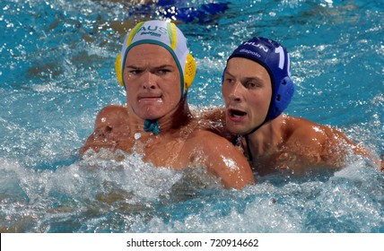 Budapest, Hungary - Jul 17, 2017. VARGA Denes (HUN) waterpolo player (in blue) fights with POWER Nathan (AUS). FINA Waterpolo World Championship was held in Alfred Hajos Swimming Centre in 2017.