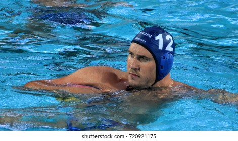 Budapest, Hungary - Jul 17, 2017.  HARAI Balazs, hungarian waterpolo player. FINA Waterpolo World Championship was held in Alfred Hajos Swimming Centre in 2017.