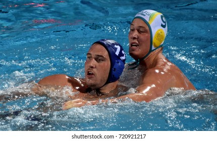 Budapest, Hungary - Jul 17, 2017. HARAI Balazs hungarian waterpolo player (in blue) fights with FORD Andrew (AUS). FINA Waterpolo World Championship was held in Alfred Hajos Swimming Centre in 2017.