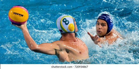 Budapest, Hungary - Jul 17, 2017. ERDELYI Balazs (HUN) waterpolo player (in blue) fights with YOUNGER Aaron (AUS). FINA Waterpolo World Championship was held in Alfred Hajos Swimming Centre in 2017.